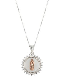 "Gratitude & Grace Cubic Zirconia Mother-of-Pearl Inlay Two-Tone Saint Pendant Necklace in Fine Silver-Plate & Rose Gold-Flash, 16"" + 2"" extender"
