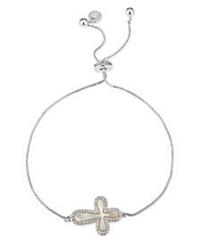 Gratitude & Grace Cubic Zirconia & Mother-of-Pearl Cross Bolo Bracelet in Fine Silver-Plate