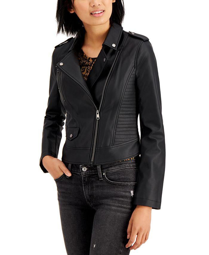 CoffeeShop - Juniors' Faux-Leather Moto Jacket