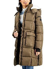 Juniors' Fleece-Lined Hooded Puffer Coat