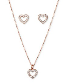Fine Silver Plated 2-Pc. Set Cubic Zirconia Open Heart Pendant Necklace & Matching Stud Earrings in Rose Gold