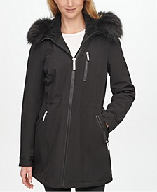 Faux-Fur-Trim Hooded Raincoat