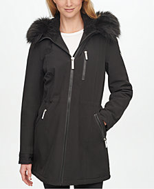 Calvin Klein Faux-Fur-Trim Hooded Raincoat