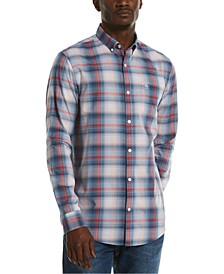 Men's Slim-Fit Ombré Plaid Shirt