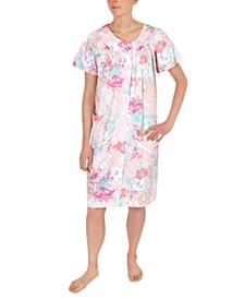 Plus Size Floral-Print Short Snap Front Robe