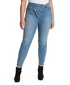 Trendy Plus Size Infinite Asymmetrical Skinny Jeans