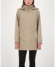 Jones New York Zip-Front A-Line Hooded Raincoat