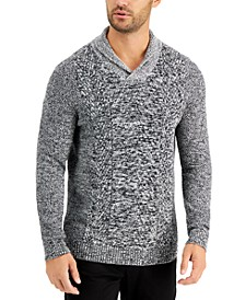 Men's Chunky Marbled Shawl Sweater, Created for Macy's
