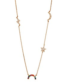 "Crystal Rainbow, Star, Moon & Lightening Statement Necklace in Gold-Flash, 16"" + 2"" extender"