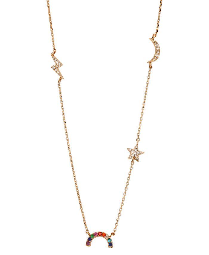 """Unwritten - Crystal Rainbow, Star, Moon & Lightening Statement Necklace in Gold-Flash, 16"""" + 2"""" extender"""