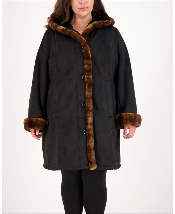 Jones New York Plus Size Hooded Faux-Shearling Coat