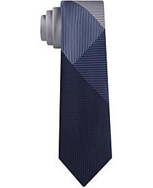Men's Graphic Check Panel Skinny Tie