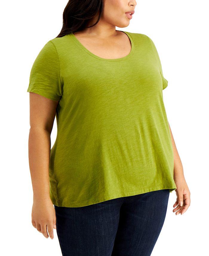 Eileen Fisher - Plus Size Organic Cotton U-Neck T-Shirt