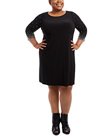 Plus Size Faraj Embellished-Sleeve Sheath Dress
