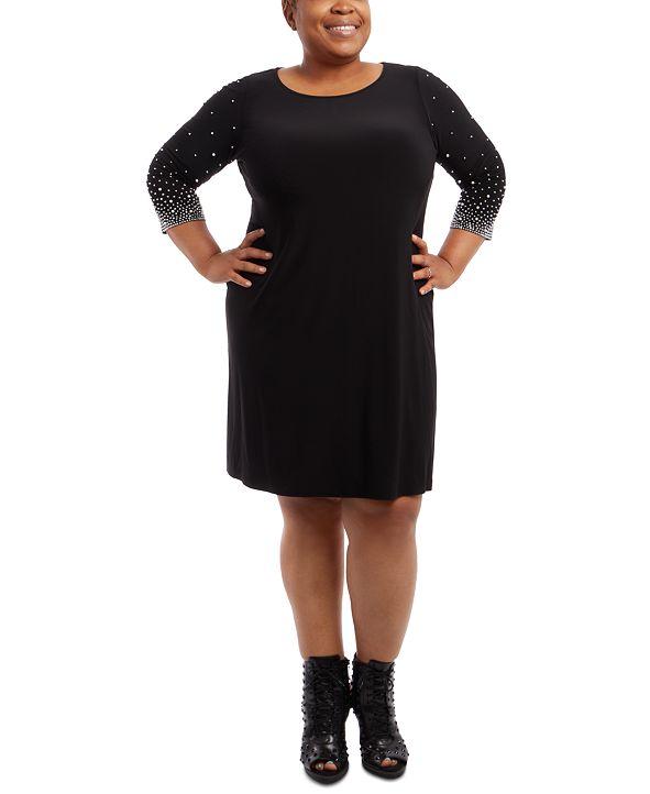 MSK Plus Size Faraj Embellished-Sleeve Sheath Dress