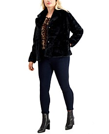Juniors' Trendy Plus Size Faux-Fur Coat