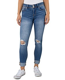 Juniors' Roll-Cuff Skinny Jeans