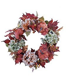 Martha Stewart Harvest Pumpkins and Flowers Wreath, Created for Macy's
