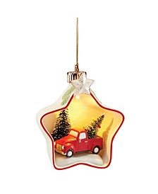 Light-Up Tree & Truck Star Scene Ornament