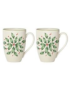 Hosting the Holidays 2-piece Holly Mug Set