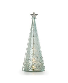 Wintery Woods Lit Mercury Glass Holly Tree