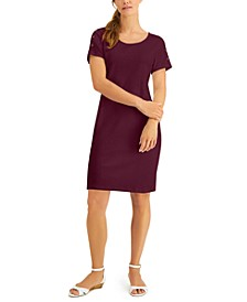 Petite Cotton Button-Shoulder Dress, Created for Macy's