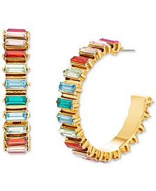 """Gold-Tone Medium Baguette-Stone C-Hoop Earrings, 1.56"""""""
