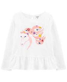 Big Girls Floral Horse Peplum Jersey Tee