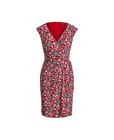 Petite Floral Jersey Wrap-Style Dress