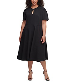 Plus Size Scuba Crepe Midi Dress