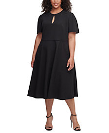 Tommy Hilfiger Plus Size Scuba Crepe Midi Dress