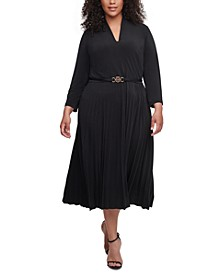 Plus Size Belted Pleated-Skirt Dress