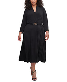 Tommy Hilfiger Plus Size Belted Pleated-Skirt Dress