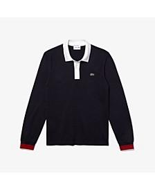 Men's Made in France Regular Fit Long Sleeve Organic Cotton Petit Piqué Polo Shirt