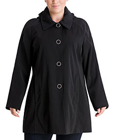 London Fog Plus Size Single-Breasted Hooded Raincoat