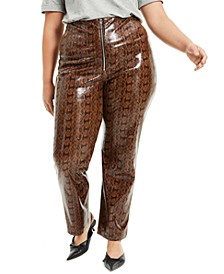 Plus Size Faux-Snakeskin Pants, Created for Macy's
