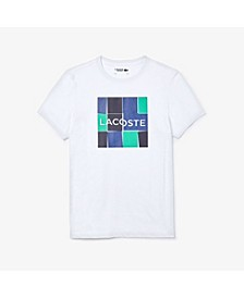 Men's SPORT Short Sleeve Crew Neck Performance Jersey T-shirt with Lacoste Square Logo Graphic