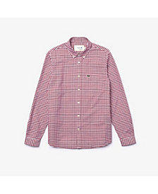 Lacoste Men's Regular-Fit Checkered Oxford Cotton Shirt