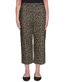Petite Zanzibar Animal-Print Pull-On Capri Pants