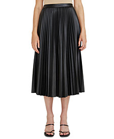 Lucy Paris Faux-Leather Pleated Skirt
