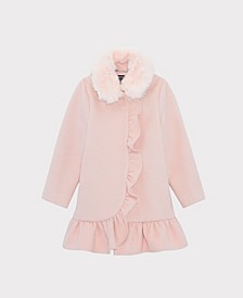 Big Girls Ruffle Dress Coat with Collar