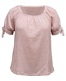Plus Size Tie-Sleeve Top, Created for Macy's