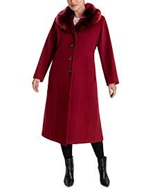 Plus Size Faux-Fur Collar Maxi Coat