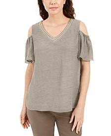 Studded Cold-Shoulder Woven Gauze Top, Created for Macy's
