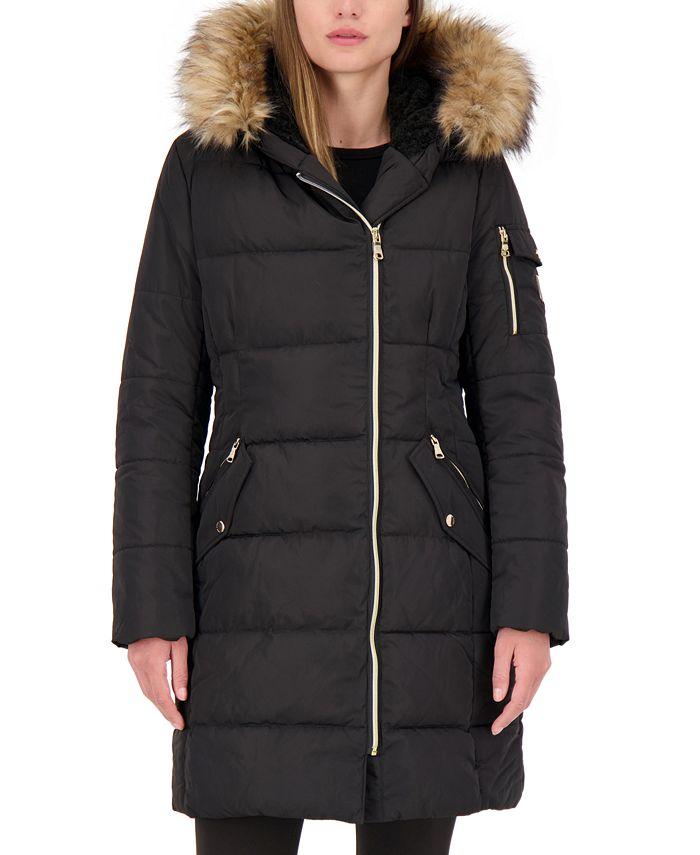 Vince Camuto - Faux-Fur-Trim Hooded Asymmetrical Puffer Coat