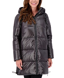 High-Shine Hooded Puffer Coat
