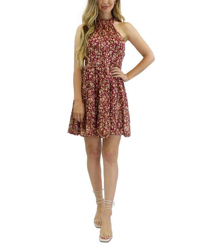 Crystal Doll - Juniors' Floral-Print Fit & Flare Dress