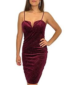 Juniors' Glitter-Velvet Bodycon Dress