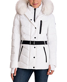 Michael Michael Kors Belted Faux-Fur Trim Hooded Puffer Coat