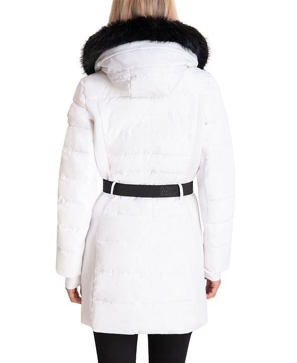 Michael Kors Belted Faux-Fur-Trim Hooded Puffer Coat ...